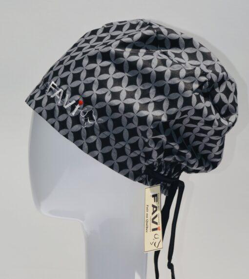 chapeau de chirurgie semi-bouffant-Classique noir et gris