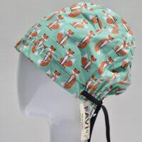 chapeau de chirurgie semi-bouffant-les petits renards en vert