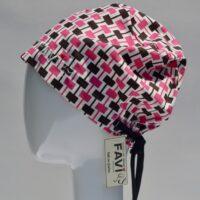 chapeau de chirurgie semi-bouffant-rectangles en rose et brun