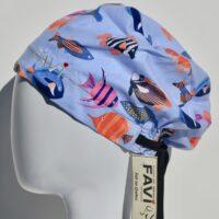 chapeau de chirurgie semi-bouffant-poissons tropicaux