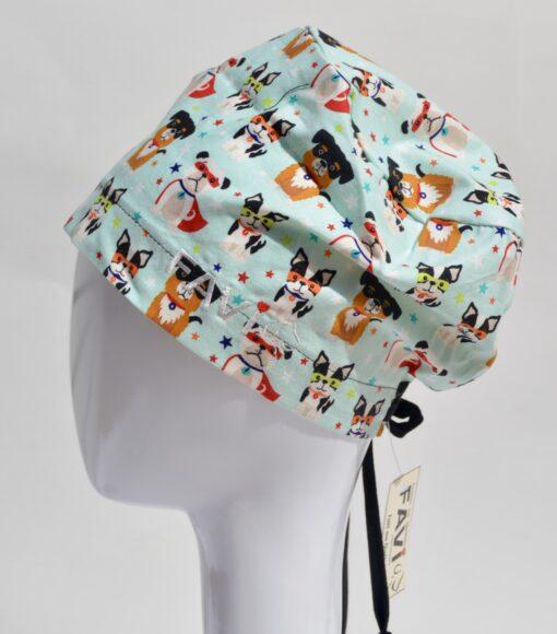 chapeau de chirurgie semi-bouffant-supers héros en menthe