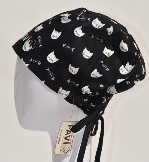 chapeau de chirurgie semi-bouffant-faces de chats et arêtes en noir