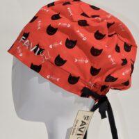 chapeau de chirurgie semi-bouffant-faces de chats et arêtes en rouge