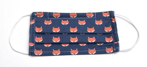 masque avec élastiques souples-renards en bleu marin