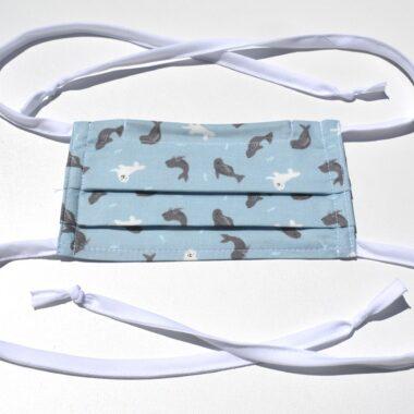 masque avec ganses-les phoques en bleu pâle