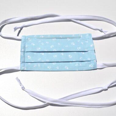 masque avec ganses-petites pattes en bleu