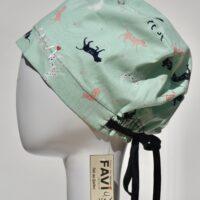 chapeau de chirurgie semi-bouffant-les chiens couleur menthe