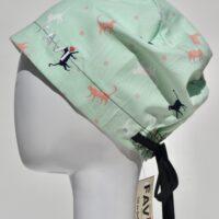 chapeau de chirurgie semi-bouffant-les chats couleur menthe