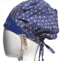 chapeau de chirurgie bouffant Carrés ou losanges en bleu