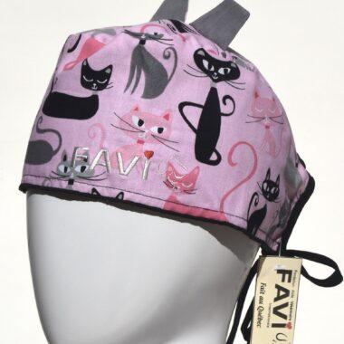 chapeau de chirurgie avec oreilles-folle des chats en rose