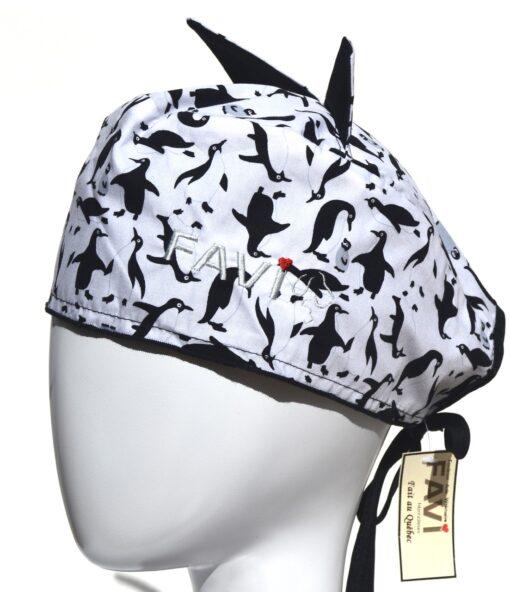 chapeau de chirurgie avec oreilles Pingouins en blanc