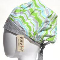 chapeau de chirurgie bouffant Wave gris et vert