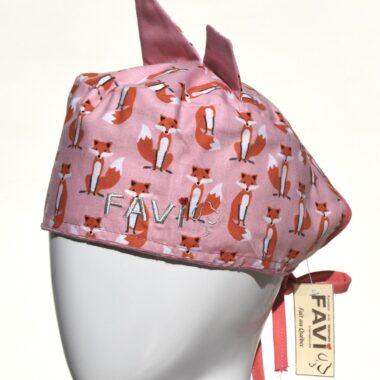 Chapeau de chirurgie avec oreilles Petites Renardes en rose