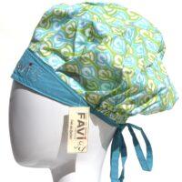 chapeau de chirurgie bouffant '76 en vert et bleu