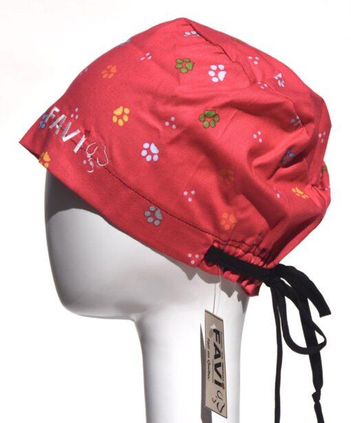 chapeau de chirurgie semi-bouffant-les pattes en rouge