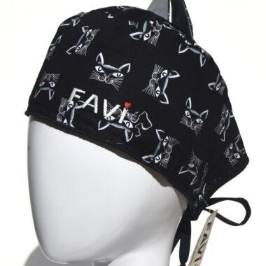 chapeau de chirurgie avec oreilles-les chats en noir