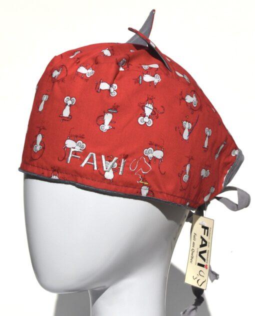 chapeau de chirurgie avec oreilles Les souris en skate Rouge