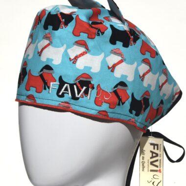 chapeau de chirurgie avec oreilles-les terriers écossais en bleu