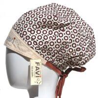 chapeau de chirurgie bouffant Cercles en beige et brun