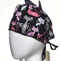 chapeau de chirurgie avec oreilles-folle des chats en noir