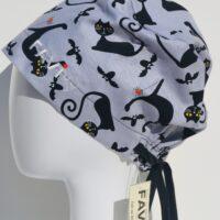 chapeau de chirurgie semi-bouffant-les chats d'Halloween