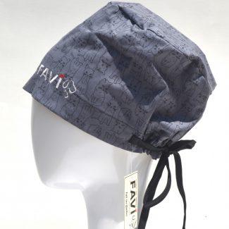 chapeau de chirurgie semi-bouffant-les chats en charcoal