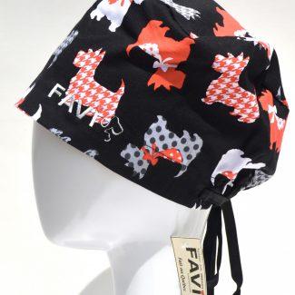 chapeau de chirurgie semi-bouffant-Scottish Terriers en noir