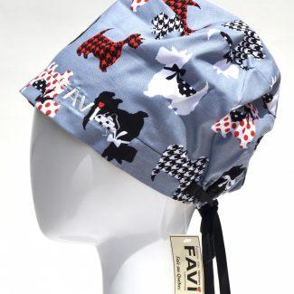 chapeau de chirurgie semi-bouffant-Scottish Terriers en bleu acier
