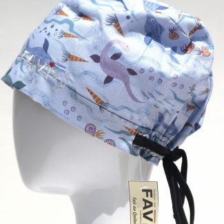 chapeau de chirurgie semi-bouffant-dinosaures aquatiques en bleu pâle