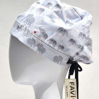chapeau de chirurgie semi-bouffant-les éléphants